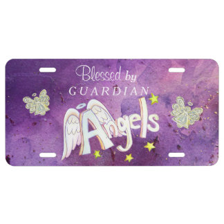 Purple Guardian Angels Blessing License Art Plate