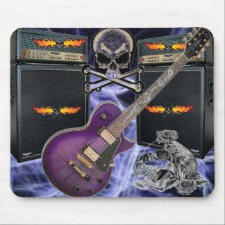 Purple Guitar Flaming Skulls & Amp Lightening Pad Mouse Pad