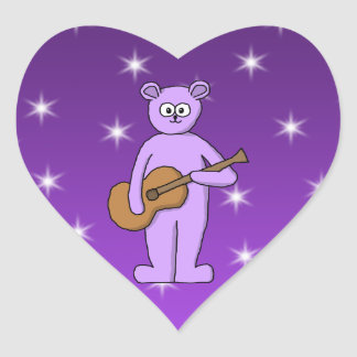 Purple Guitarist Bear. Heart Sticker