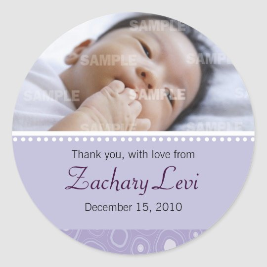 Purple Gumdrop Baby Thank You Sticker