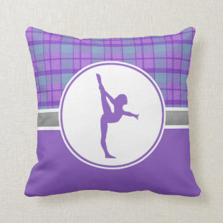 Purple Gymnastics Sweetheart Plaid Throw Pillow