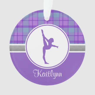 Purple Gymnastics Sweetheart Plaid w/ Monogram Ornament