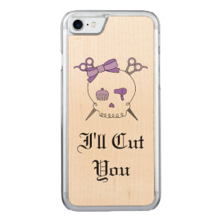 Purple Hair Accessory Skull -Scissor Crossbones #5 Carved iPhone 8/7 Case