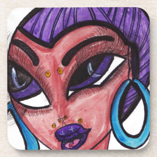 Purple Hair Beverage Coasters