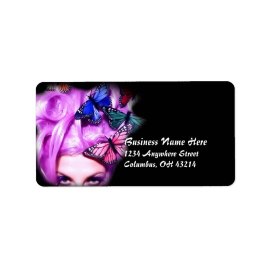 Purple Hair Butterfly Lady Address Labels 2