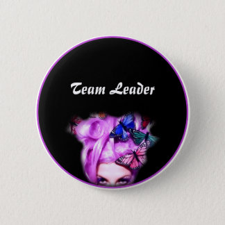 Purple Hair Butterfly Lady Button