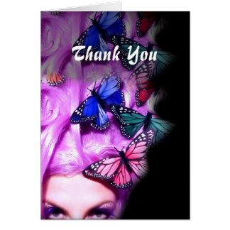 Purple Hair Butterfly Lady Customizable Card