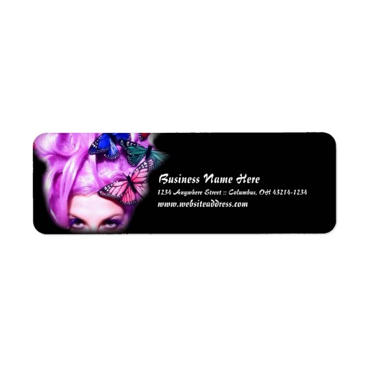 Purple Hair Butterfly Lady Return Address Labels 2