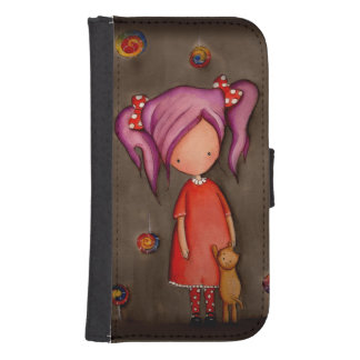 Purple hair girl with cat Samsung S4 Wallet Case