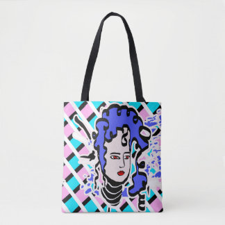 Purple Haired Cartoon Tote Bag