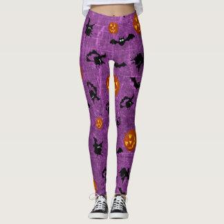 Purple Halloween Bats, Pumpkins Witches Leggings