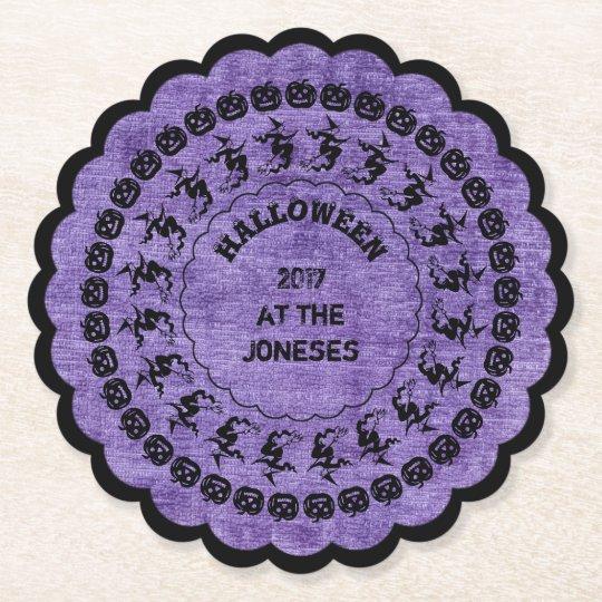 Purple Halloween Fun Font Art Circles Pattern Paper Coaster