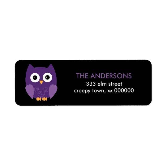 Purple Halloween Owl Halloween Labels