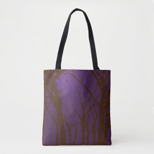 Purple Halloween Scary Forest Tote Bag