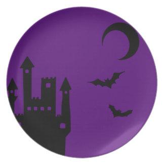 Purple Halloween Vampire Castle Plate