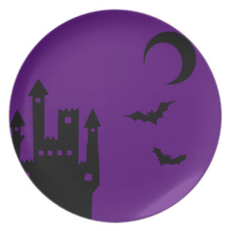 Purple Halloween Vampire Castle Plates