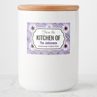 Purple Hand drawn floral botanical pattern Food Label