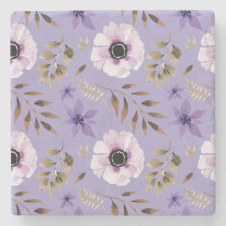 Purple Hand drawn floral botanical pattern Stone Coaster