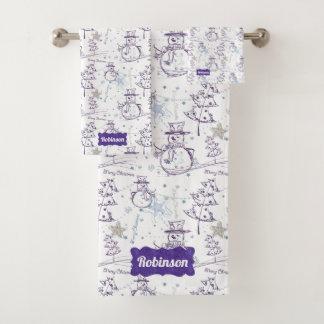 Purple Hand Drawn Jolly Xmas Snowman Bath Towel Set