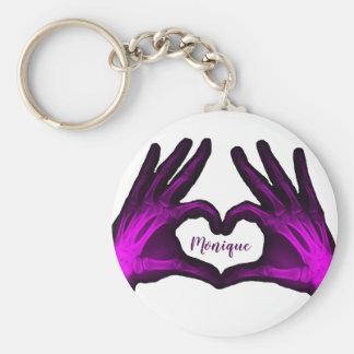 Purple Hand Xray Heart Keychain
