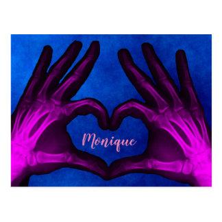 Purple Hand Xray Heart Postcard