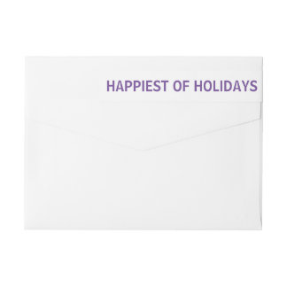 Purple Happiest Of Holidays Christmas Wrap Around Label