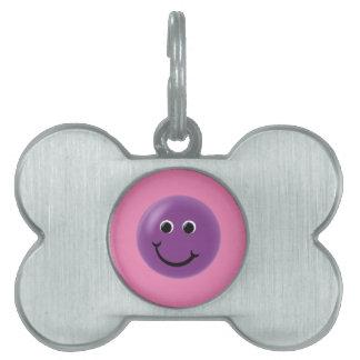 Purple Happy Smiley Pet ID Tag