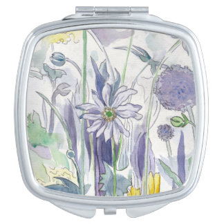Purple Hase Flower Compact Mirrors For Makeup