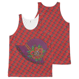 Purple Hat All-Over-Print Tank Top