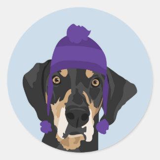 Purple hat Coonhound Classic Round Sticker