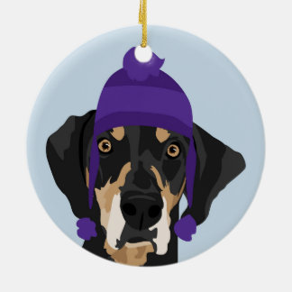 Purple hat Coonhound Ornament