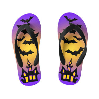 Purple Haunted House and Bats Kid's Flip Flops