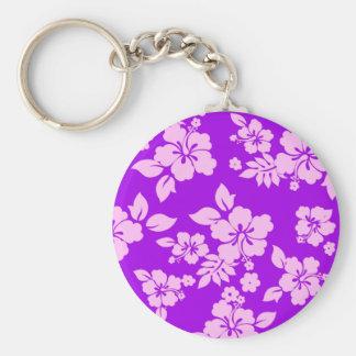 Purple Hawaiian Basic Round Button Keychain