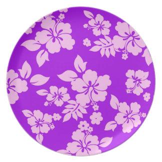Purple Hawaiian Pattern Dinner Plates