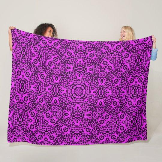 Purple Hawaiian Sea Turtles Satin Foulard Mandala Fleece Blanket
