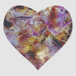 Purple Haze Abstract Heart Sticker