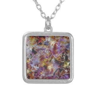 Purple Haze Abstract Square Pendant Necklace