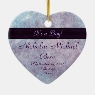 Purple Haze Birth Announcement Keepsake Ceramic Ornament