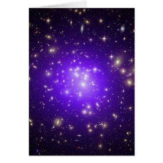 Purple haze of stars at night greeting card