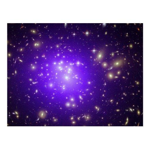Purple haze of stars at night postcard