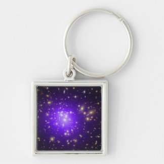 Purple haze of stars at night Silver-Colored square keychain