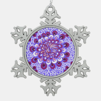 Purple haze snowflake pewter christmas ornament