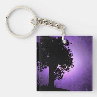 Purple Haze Tree Double-Sided Square Acrylic Keychain