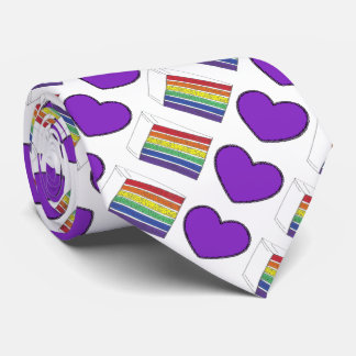 Purple Heart and Rainbow Layer Cake Pride Love Tie