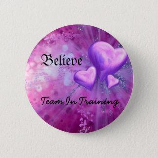purple heart, Believe, Team In Training 2 Inch Round Button