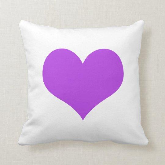Purple heart big white cushion pillow