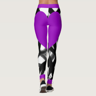 Purple Heart Black Lines Leggings
