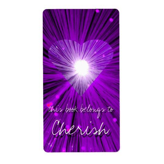 Purple Heart bookplate  label