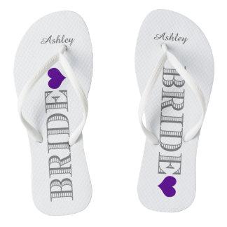 Purple Heart Bride's Flip Flops