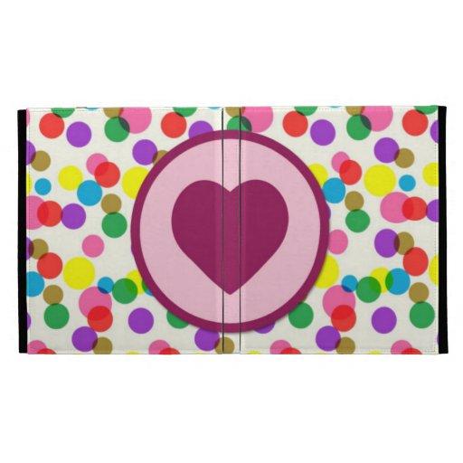 Purple Heart Confetti Color Splashes Polka Dots iPad Folio Covers